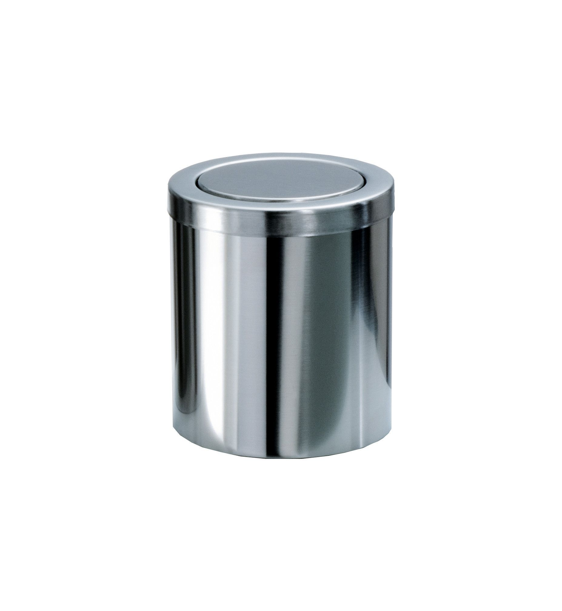 DWBA Round Extra Small Coutertop Wastebasket Trash Can W  Swing Lid  Steel  Chrome. DWBA Round Extra Small Coutertop Wastebasket Trash Can W  Swing