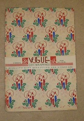 Vintage Christmas Vogue Gift Wrap 3 Sheets Candles Design Early 40 S Vintage Wrapping Paper Gift Wrapping Vintage Christmas