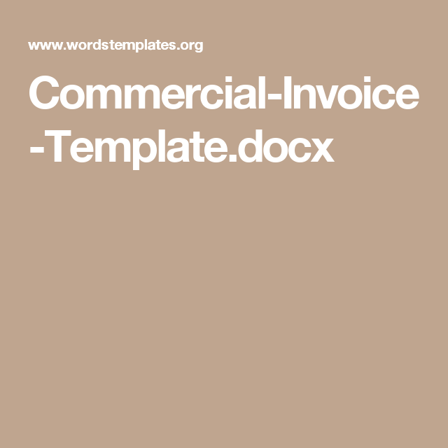 CommercialInvoiceTemplatedocx Proposals Pinterest Free - Invoice template docx
