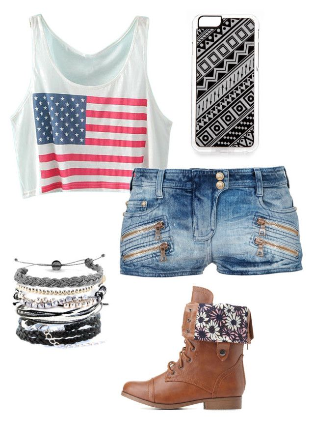 """USA"" by lilygriffiths44 ❤ liked on Polyvore featuring Balmain, Zero Gravity, Domo Beads and Charlotte Russe"