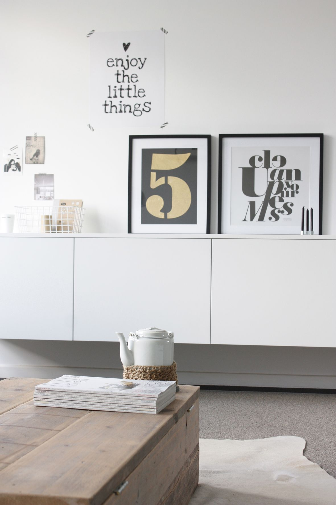 clean white, with a fabulous display of prints