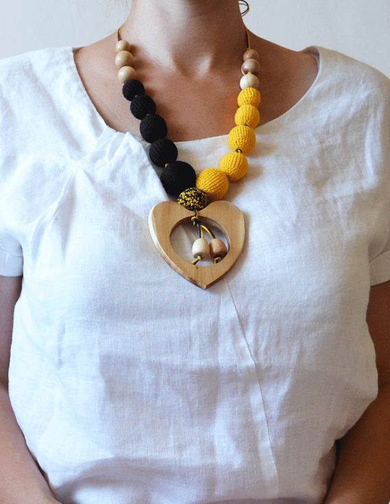 Wooden button teething necklace with heart pendant 100 safe and wooden button teething necklace with heart pendant 100 safe and eco friendly teether mozeypictures Images