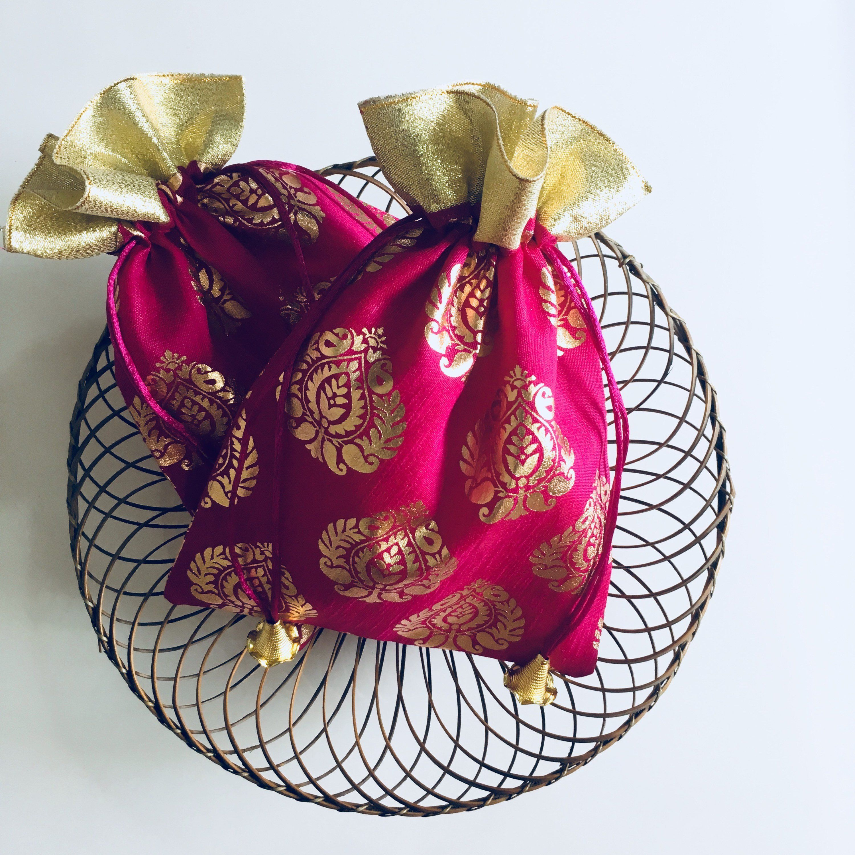 Silk potli favor bags for wedding favors and diwali gifts