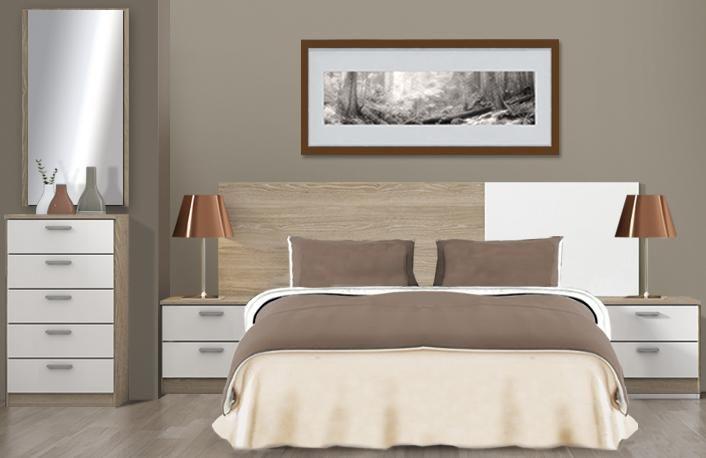 Dormitorio matrimonio compuesto por un cabecero de cama de 209 cm, 2 ...