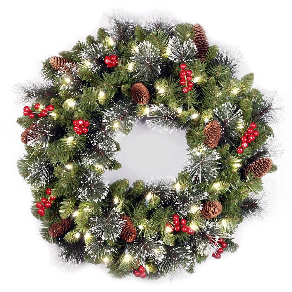 Battery Operated Artificial Lighted Green Christmas Wreath Outdoor Decorations Ebay