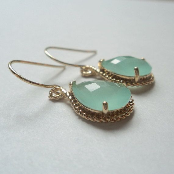 Mint aquamarine glass gold tear shape drops on french wire earrings.  Everyday.  Bridal.  Bridesmaids.  Weddings.. $28.00, via Etsy.