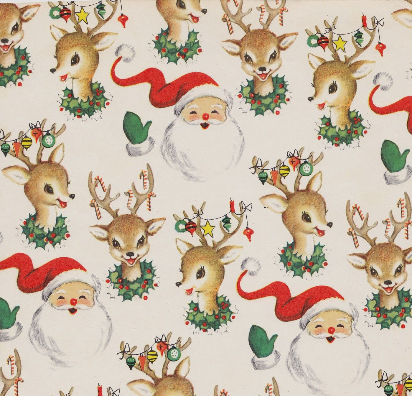 vintage christmas wrap santa and reindeer | awesome stuff