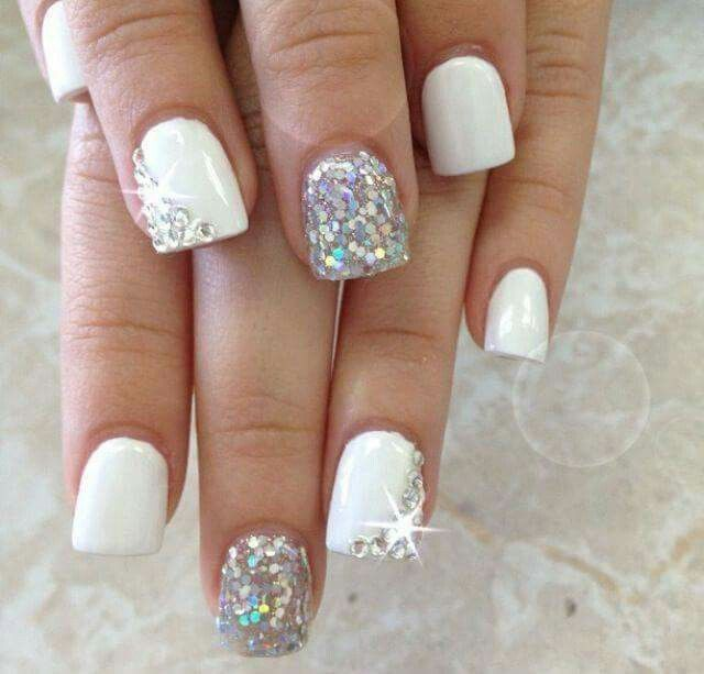 Pin by leeann gibson on make up tipsnails etc pinterest as simple as love make a wish bridal toenails white glitter nails simple white nail design with some sparkles so chic for a bride bling on one nail prinsesfo Choice Image