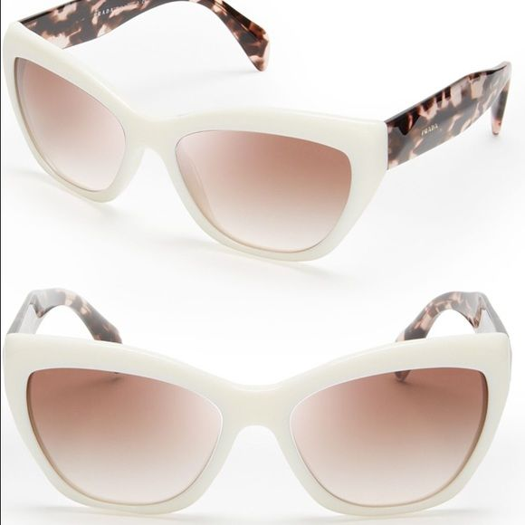 Prada Poeme white cat eye sunglasses Super cute & trendy! Sold out at most retail stores. Prada Accessories Sunglasses