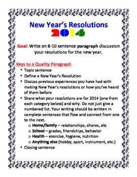 New Year S Resolution Paragraph Writing Activity Paragraph Writing Paragraph Writing Activities Writing Activities