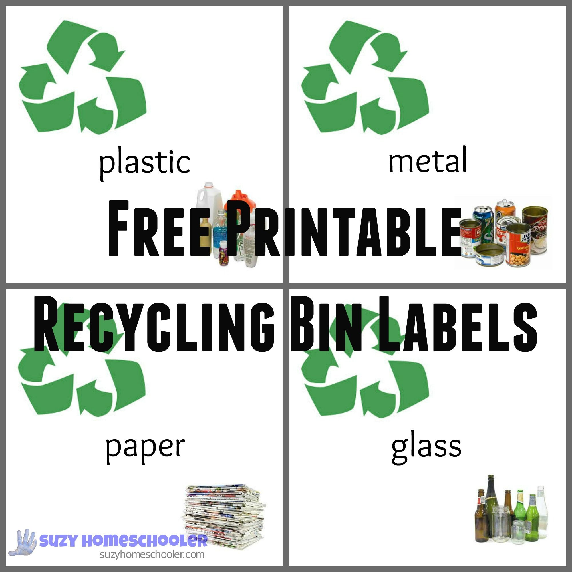 Recycle Bin Labels Paper Cans Plastic Glass