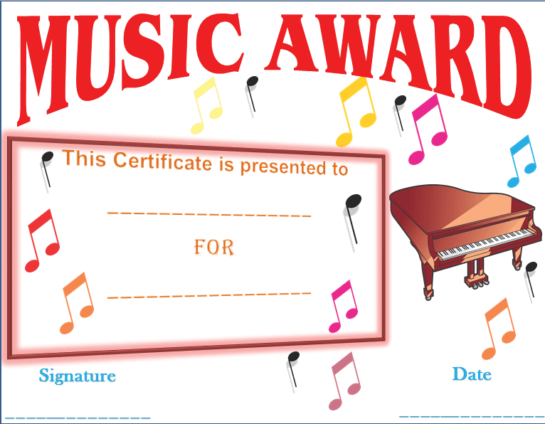 In awe of your music award certificate template award certificate in awe of your music award certificate template yelopaper