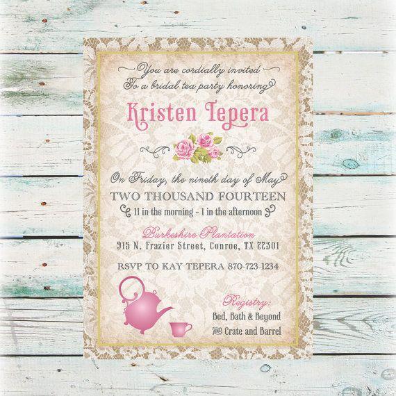 Lace Tea Party Bridal Shower Invitation
