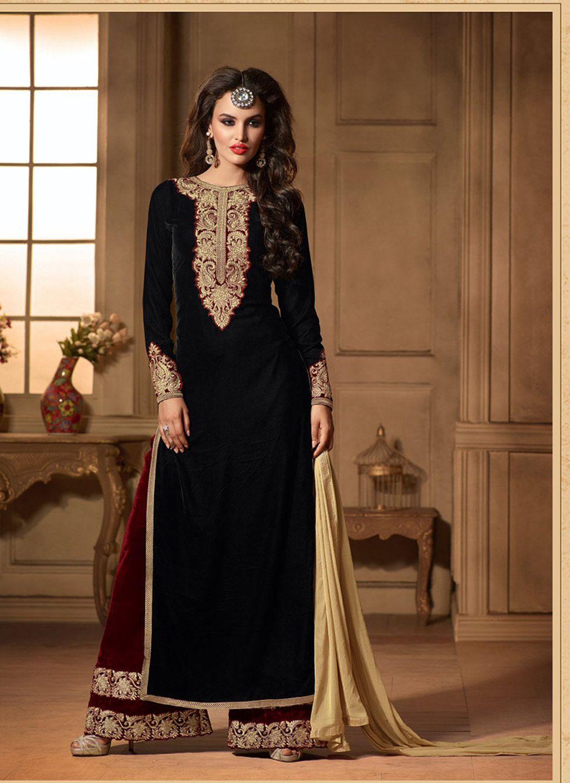 Black velvet kameez with palazzo pant 61629 velvet dress