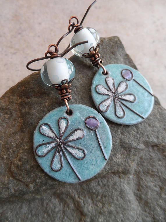 enameled copper charms, paired with lampwork beads. Wire-wrapped ...
