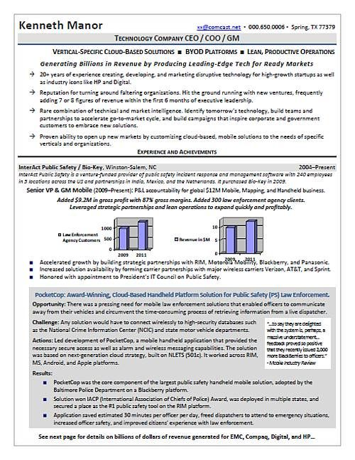Hi Tech executive resume sample with accomplishment \ - coo resume