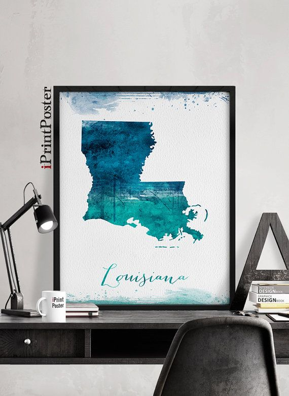 Louisiana state map Watercolour art print Poster Travel