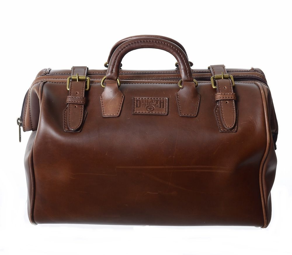 a8c33aaa2e Duluth Trading Co Leather AWOL Duffel Gear Travel Doctor Bag Weekender  Carry On
