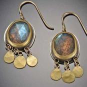 Labradorite Earrings with 22k Gold Discs