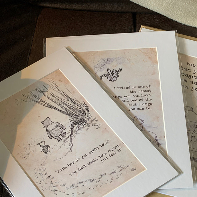 3 x winnie the pooh bear a4 mounted printed quote nursery