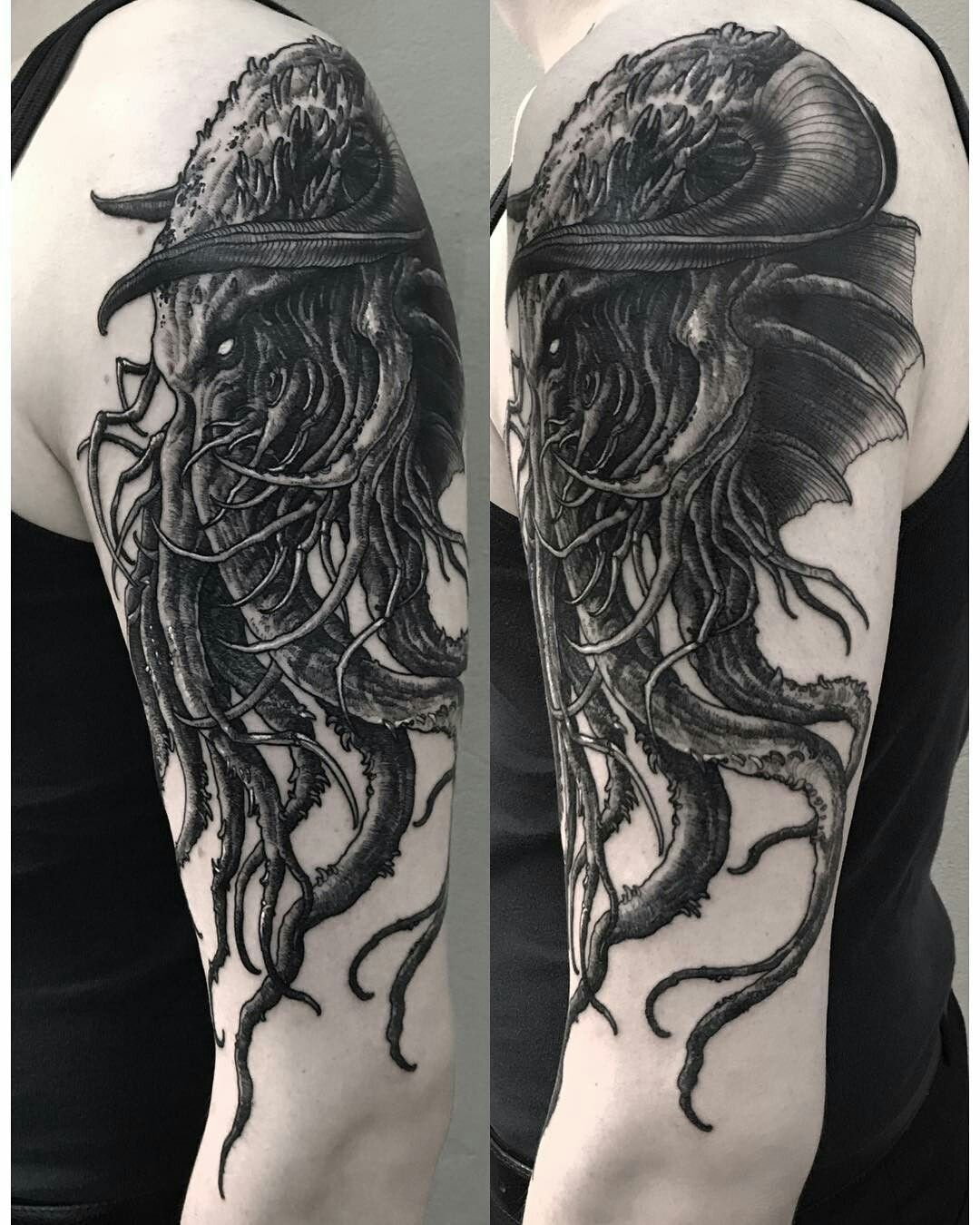 Cthulhu Tattoo Sleeve : cthulhu, tattoo, sleeve, Cthulhu, _lipa_),, #Cthulhu, #Lipa, #octopustattooarmkraken, Tattoo,, Kraken, Octopus, Tattoo, Sleeve