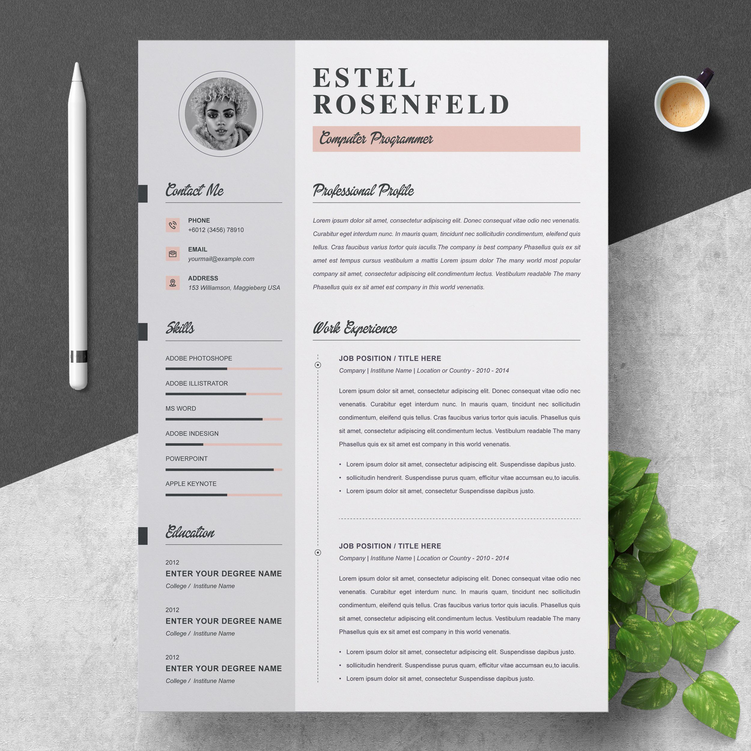 Word Resume & Cover Letter Template by ResumeInventor on