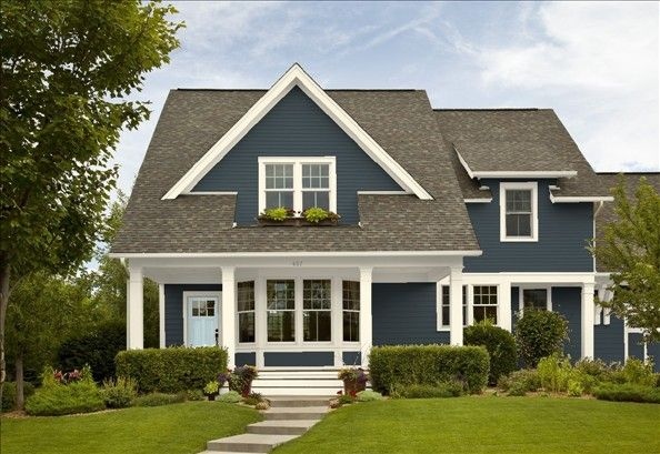 Lead Gray Bm Siding Yarmouth Blue Door Ivory Tusk Trim Color Exterior Pinterest