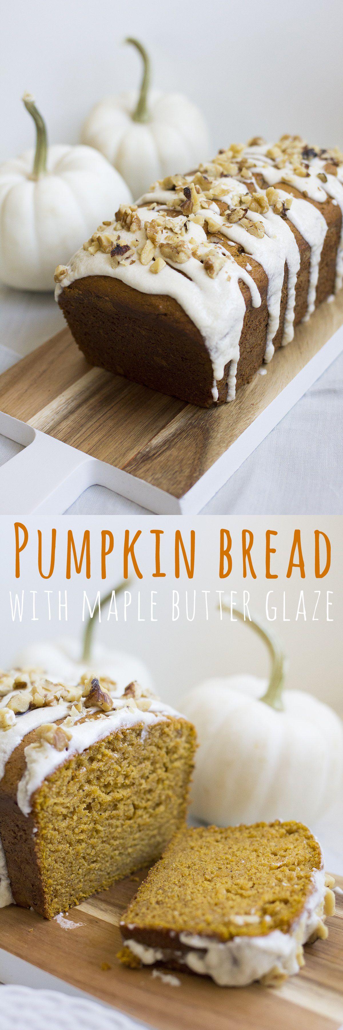 The BEST moist pumpkin bread with a maple butter glaze. This bread is so moist…
