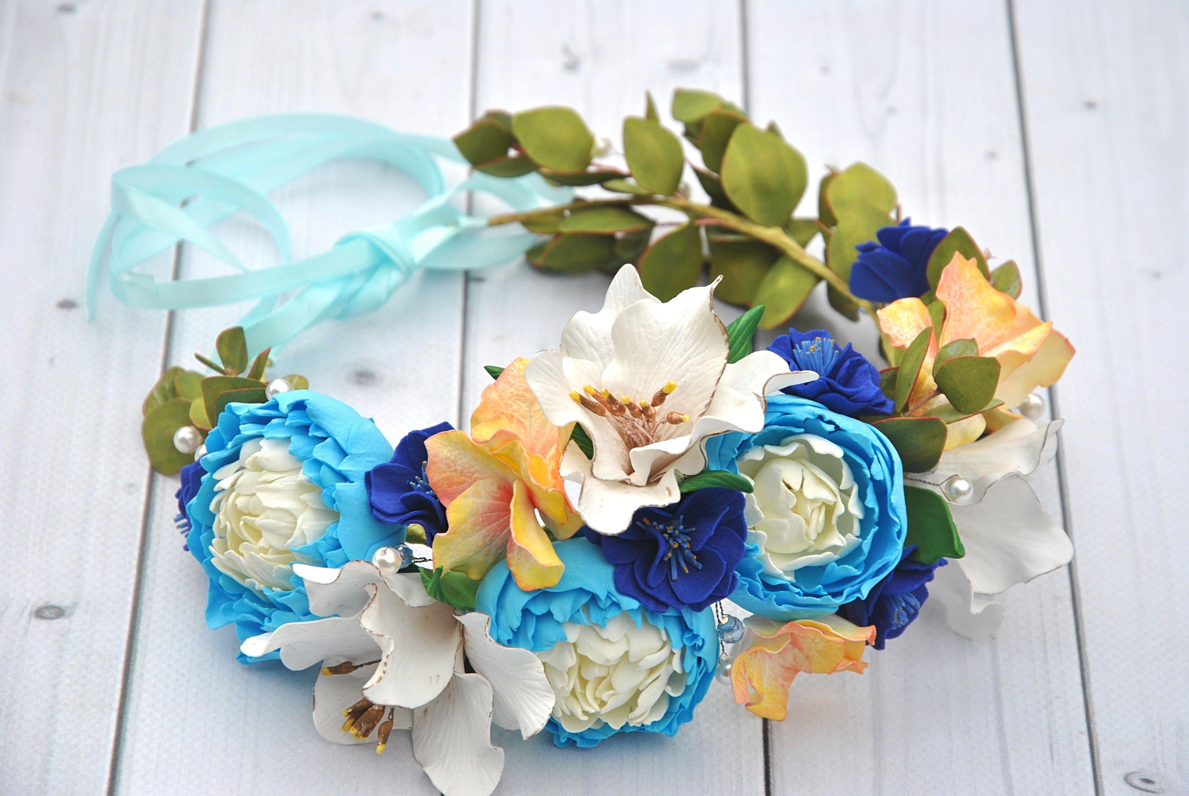 Flower wedding wreath peonies lily flower crown girls blue flowers flower wedding wreath peonies lily flower crown girls blue flowers crown boho hair wreath woodland crown izmirmasajfo