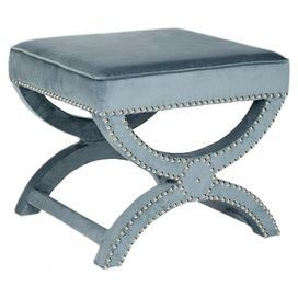 Mystic Upholstered Ottoman in Wedgwood Blue