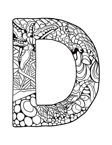 Letter D Zentangle Coloring Page From Zentangle Alphabet Category Select From 30586 Coloring Pages Free Printable Coloring Pages Coloring Pages Inspirational