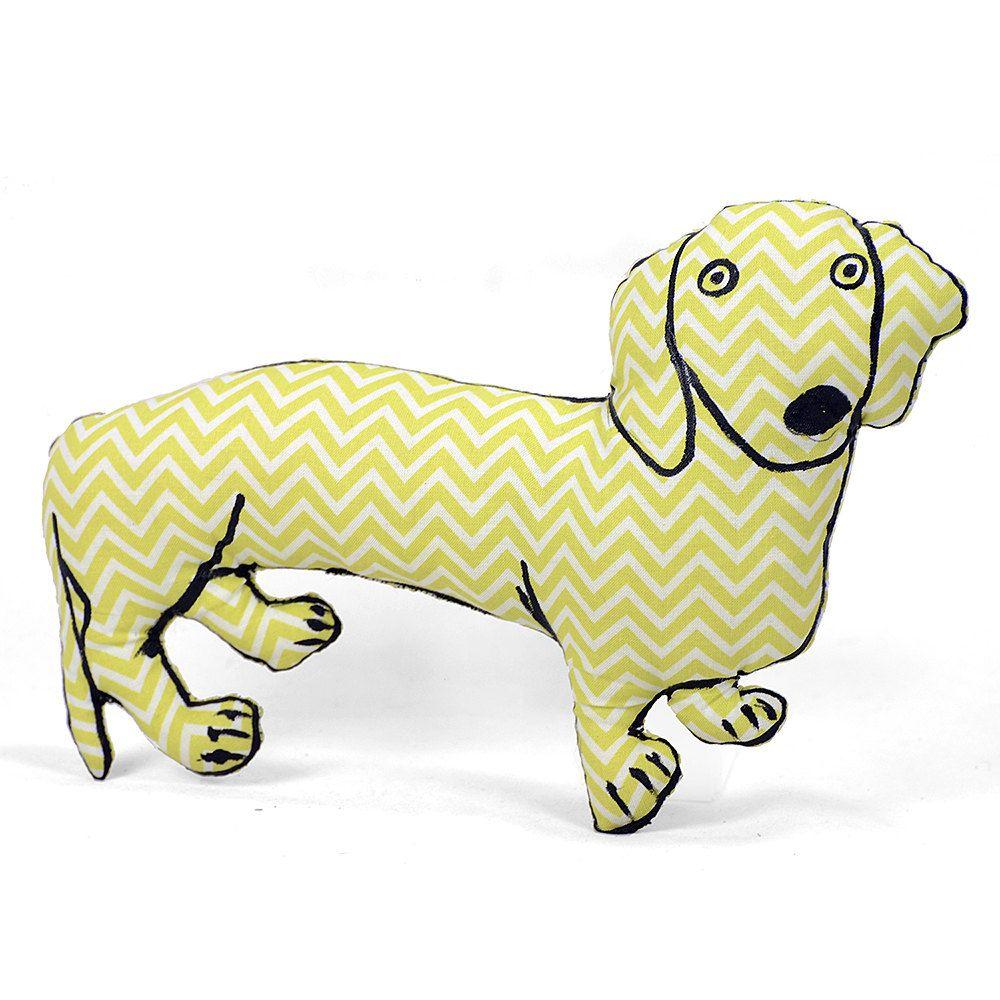 medium dachshund dog shaped pillow softie light lime green chevron ...