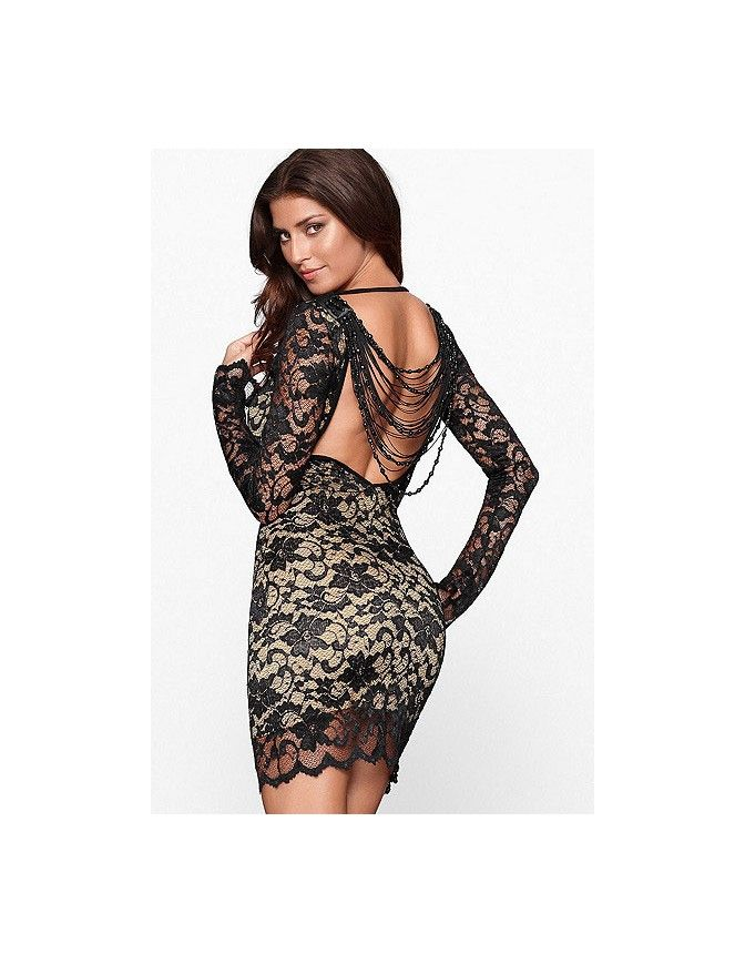 51c26730368 Thrilling Beaded Lace Dress is set to dazzle. Black lace over a nude  illusion sheath offsets this dress is daring low back