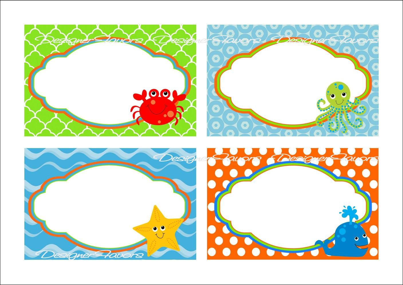 Under The Sea Food Labels Free Printable Tags