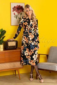 King Louie Olive Tennessee Midi Dress Années 70 en Noir