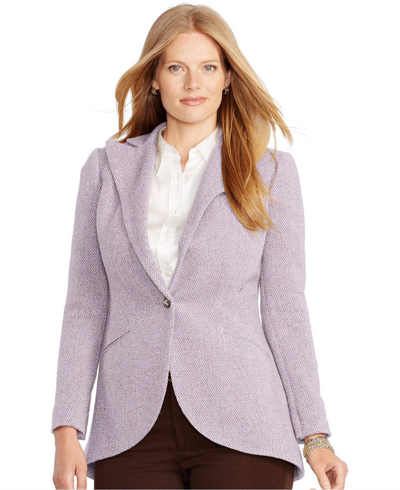 lauren ralph lauren plus size one-button blazer - jackets