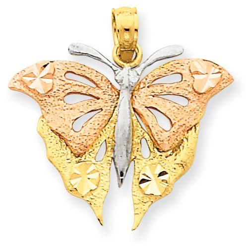 14k Yellow & Rose Gold w/Rhodium Butterfly Pendant