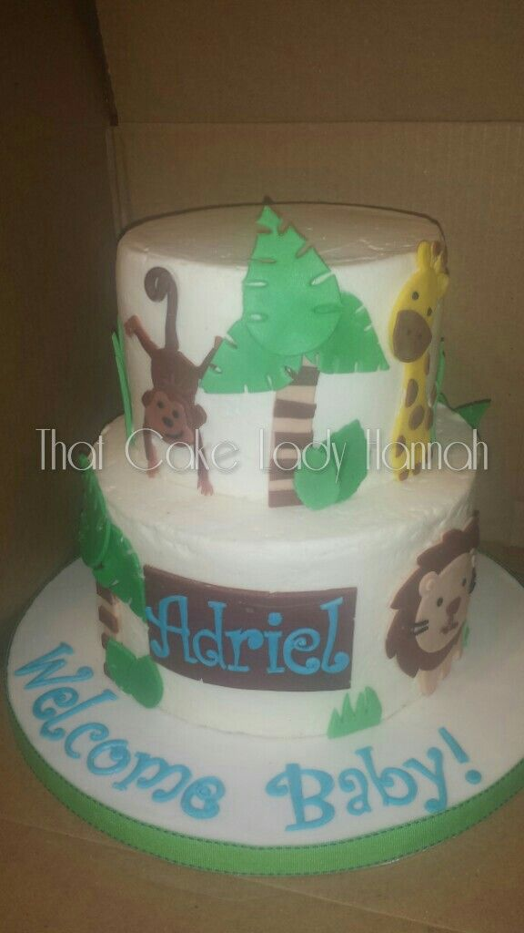 Jungle Baby Shower Cake My Cakes Cake Baby Shower Cakes