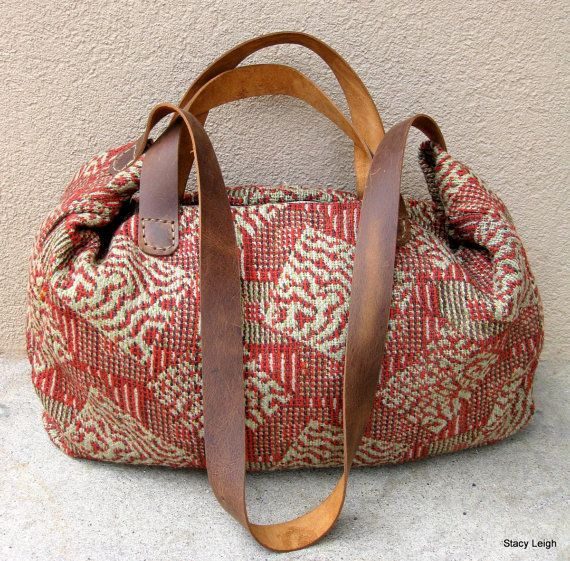 Carpetbag Civil War Era Handwoven Textile Tote Bag by Stacy Leigh Ready to Ship