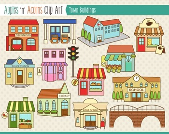 Town Buildings Clip Art Color And Outlines Clip Art Building Illustration Town Building