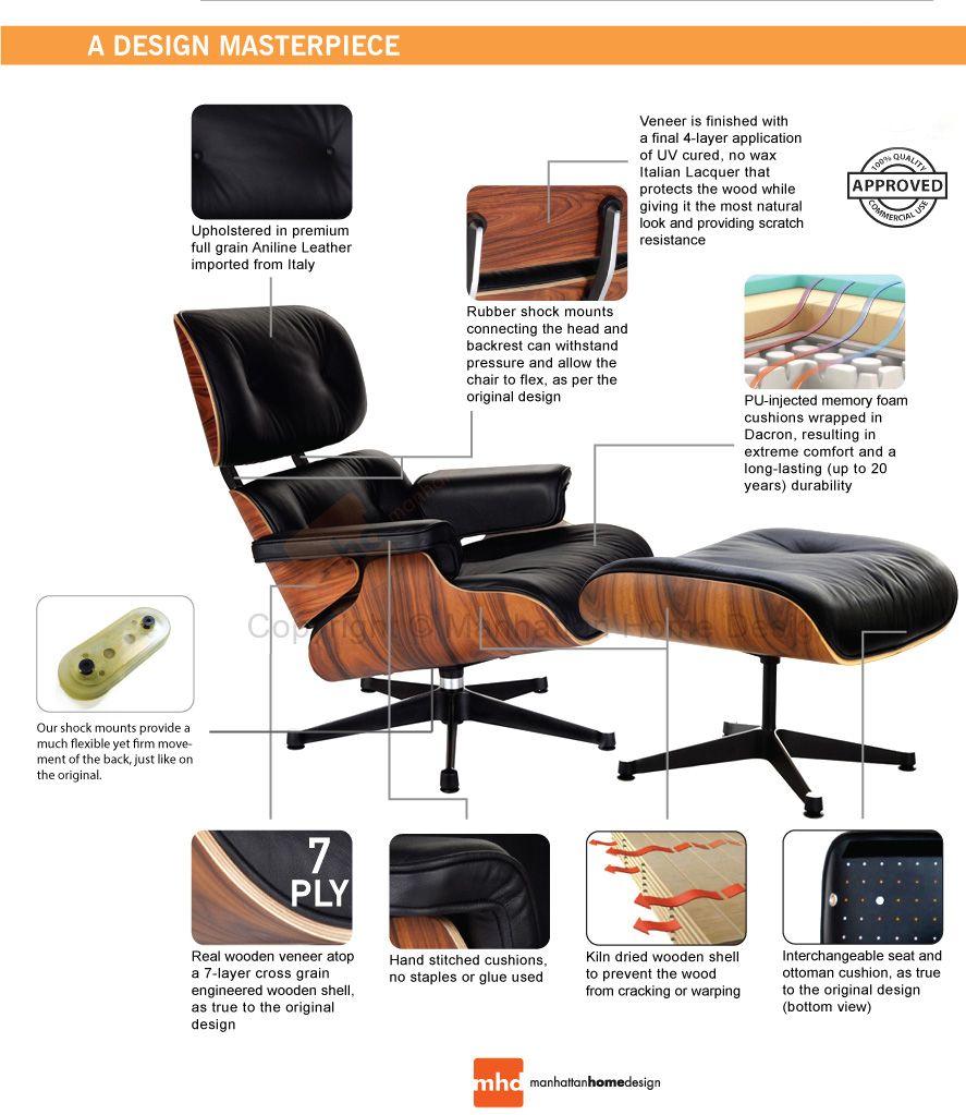 Classic Lounge Chair & Ottoman Black Eames, Classic