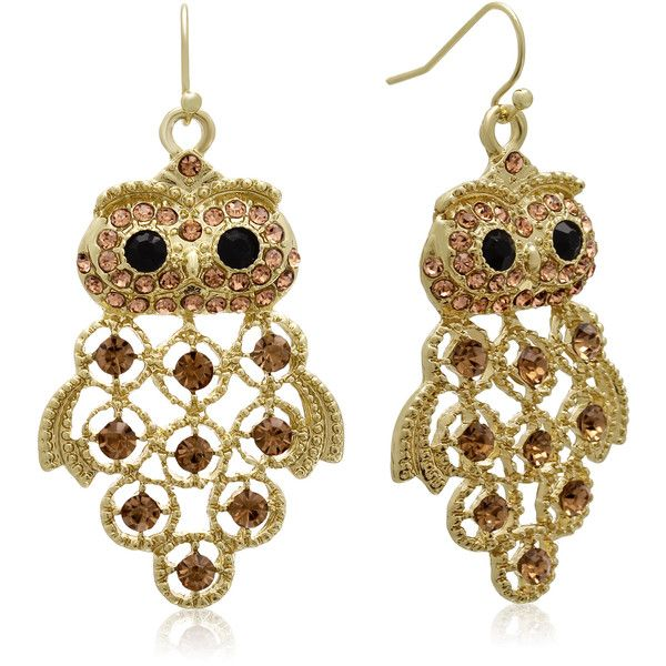 Gold Overlay Black And Champagne Crystal Owl Earrings Featuring Polyvore Fashion Jewelry