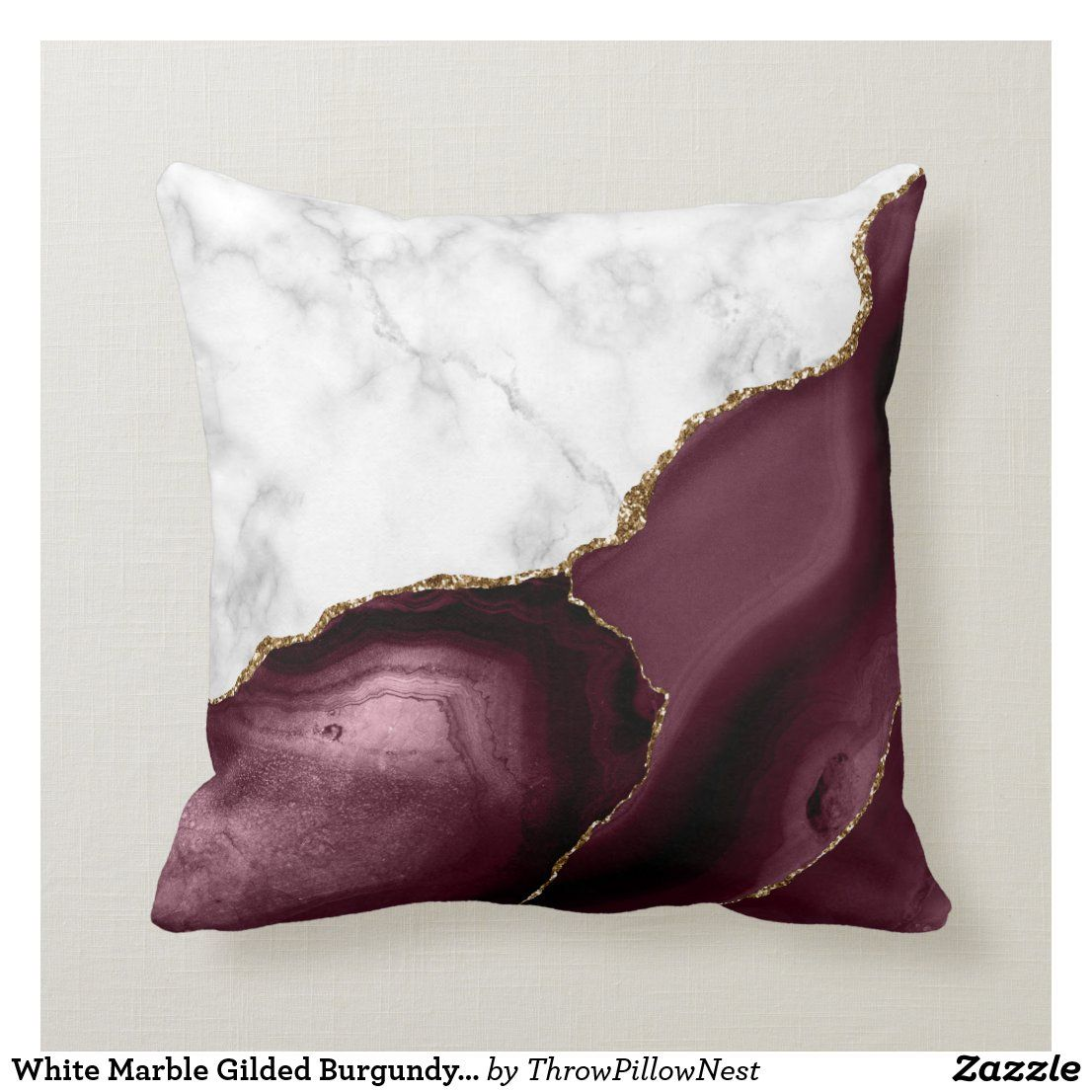 White Marble Gilded Burgundy Agate Throw Pillow