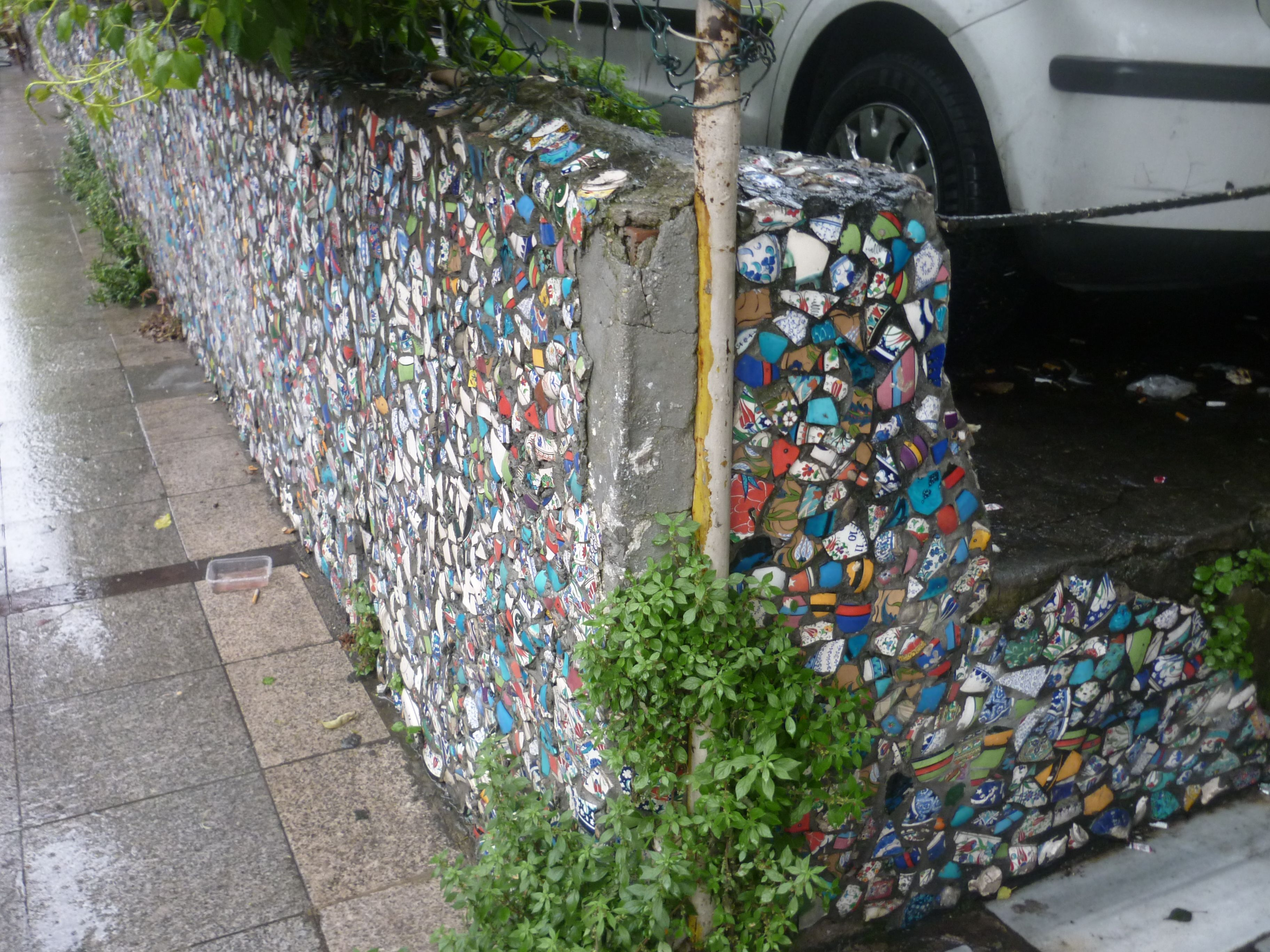 Cool street art with tiles in Istanbul