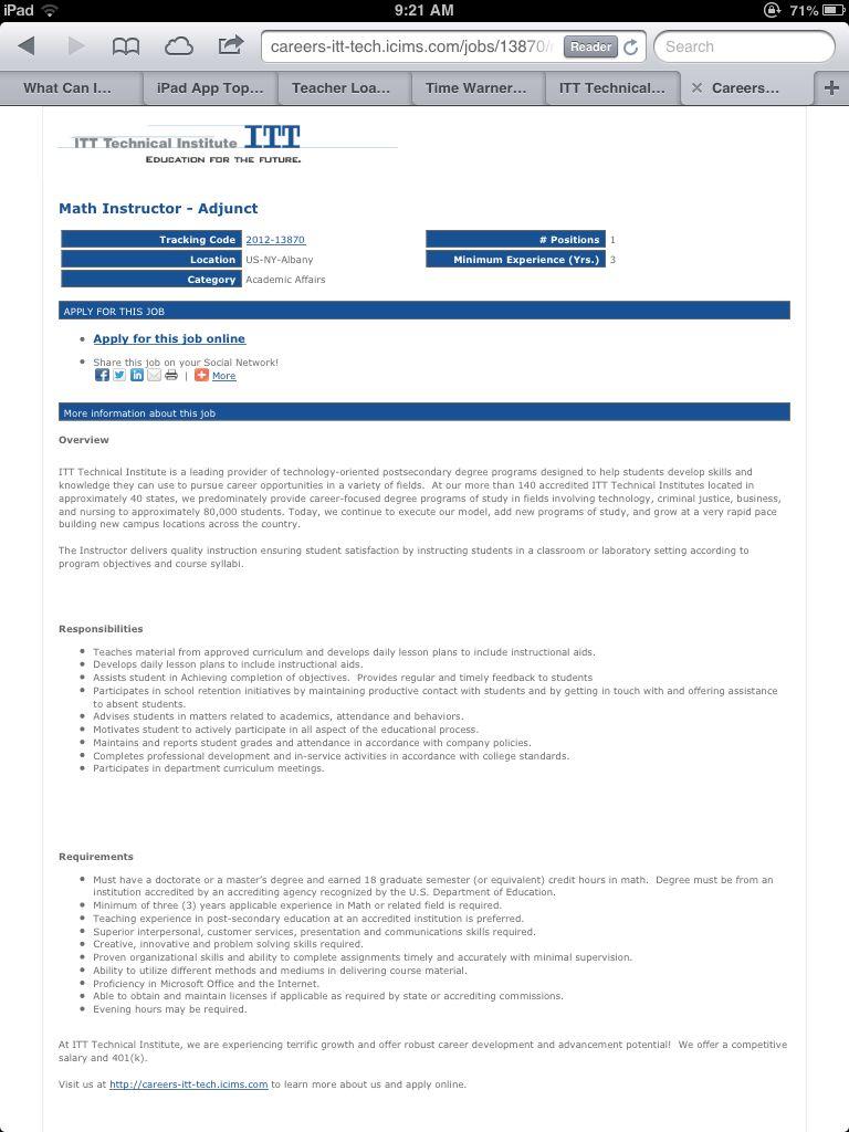 Itt Tech Math Prof Position Https Careers Itt Tech Icims Com Jobs 13870 Math Instructor Adjunct Job Job Hunting Online Jobs Positivity