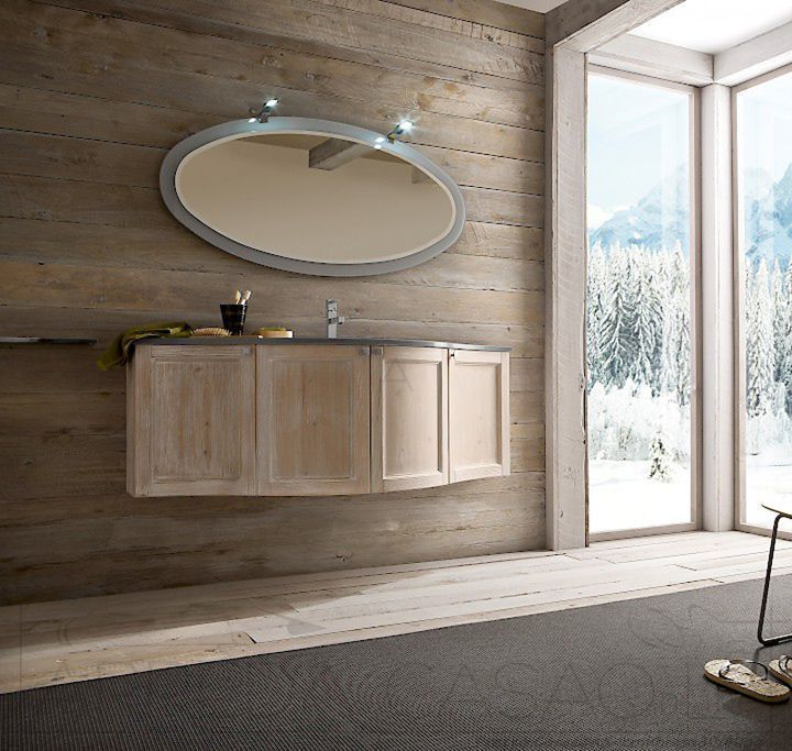 Mobile Arredo Bagno country design curvo Compab Diamante DM5 abete ...
