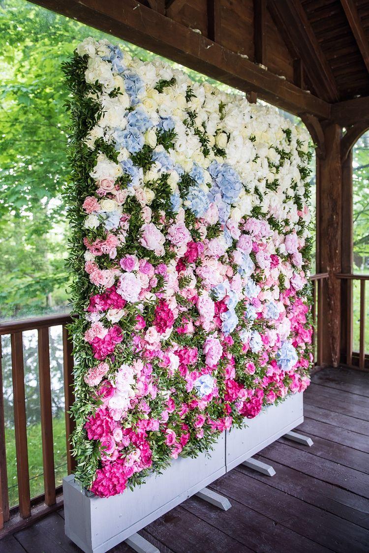 Wedding event background  Flower Wall Backdrop Whimsical Boho Glamour Pink Blue Gold Wedding