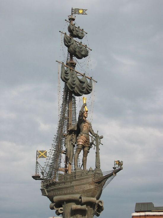 Statue of Peter I on the bank of the Moskva River is one of the tallest outdoor sculptures in the world.
