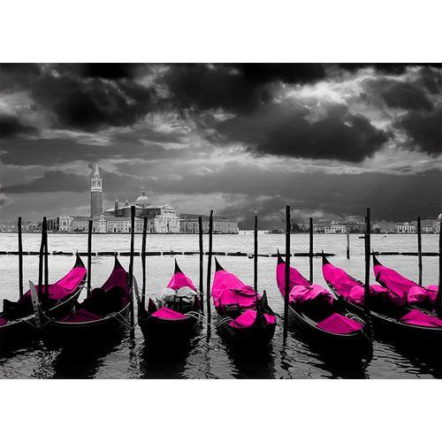 Photo of East Urban Home glass picture Around the World Venice, graphic print in magenta   Wayfair.de