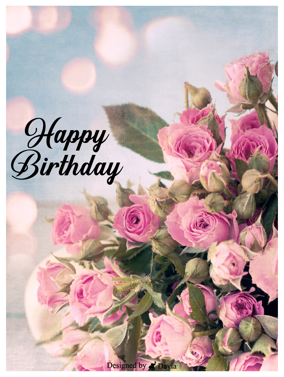 Bouquet Happy Birthday For Her Cards Birthday Greeting Cards By Davia In 2021 Happy Valentines Day Wishes Birthday Greeting Cards Happy Birthday For Her